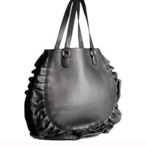 NWT Red Valentino Black Leather Ruffle Bag